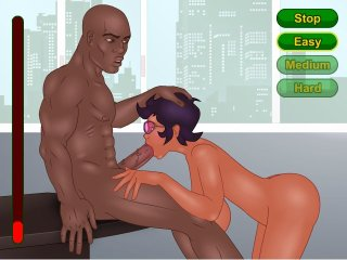 White girl fucks with a black guy in interracial game
