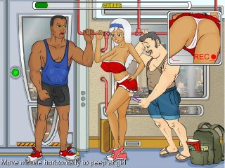 Sexy sporty game with busty girl exercising